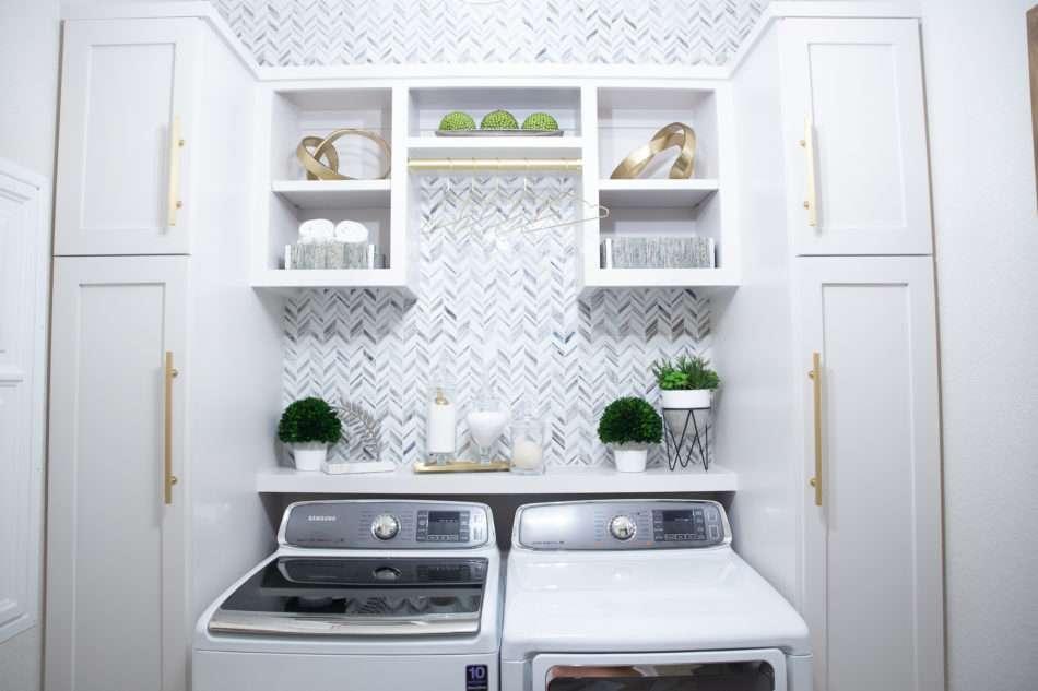 Laundry Room Makeover Built In Top Loader Washer And Dryer Melissa Roberts Interior Design Home Decor Blog