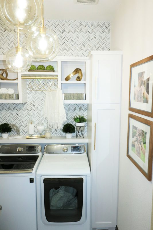 Laundry Room Makeover Built In Top Loader Washer And Dryer Melissa Roberts Interior Design Home Decor Blog